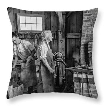 Blacksmith And Apprentice 2 Bw Throw Pillow by Steve Harrington