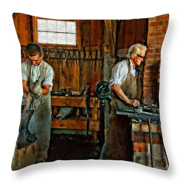Blacksmith And Apprentice Impasto Throw Pillow by Steve Harrington