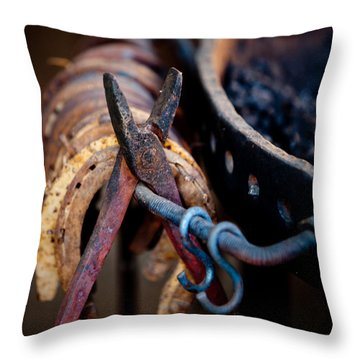 Blacksmith Tools Throw Pillow by Art Block Collections