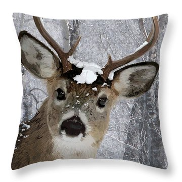 Blacktail Buck In Snow Throw Pillow