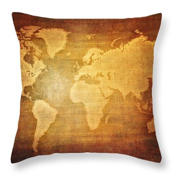Throw Pillow Blanks : Blank World Map Vintage Digital Art by Eti Reid