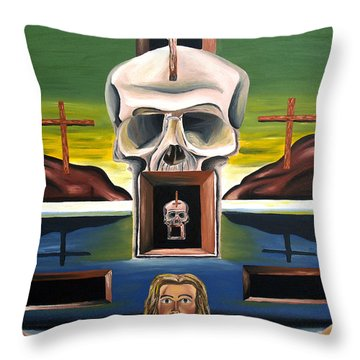 Throw Pillow featuring the painting Blasphemixition by Ryan Demaree