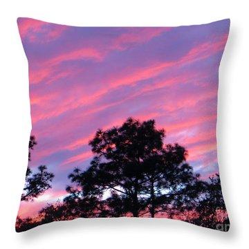 Blazing Pines Throw Pillow by Joy Hardee