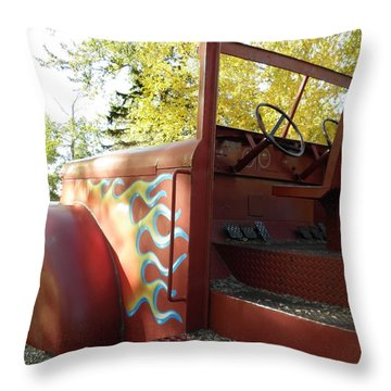 Blazing Red Fire Truck Throw Pillow