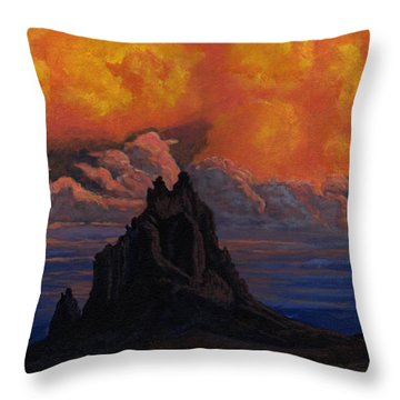 Blazing Skys Of Shiprock Throw Pillow