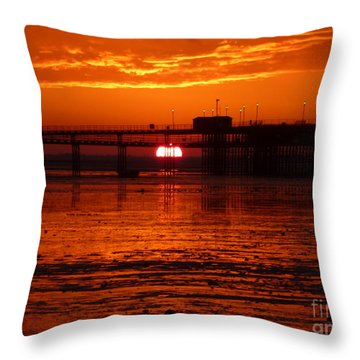 Throw Pillow featuring the photograph Blazing Sunset by Vicki Spindler
