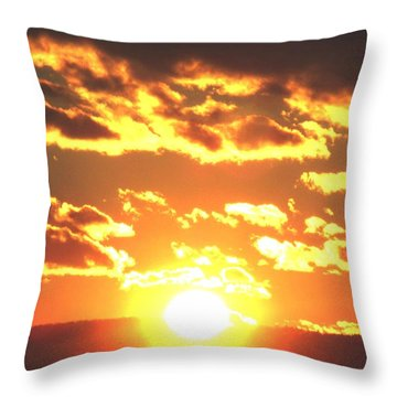 Blazing Sunset With Clouds Throw Pillow