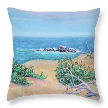Throw Pillow featuring the painting Bleached Cedar And Ocean Rocks by Asha Carolyn Young