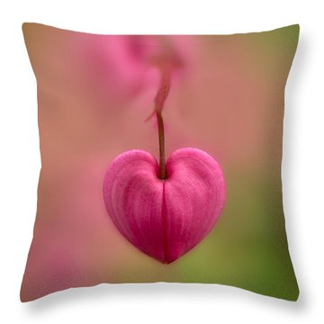 Bleeding Heart Flower Throw Pillow
