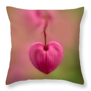 Bleeding Heart Flower Throw Pillow by Jaroslaw Blaminsky
