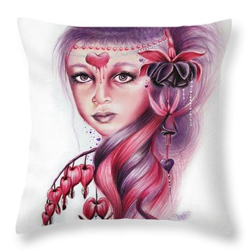 Throw Pillow featuring the drawing Bleeding Heart by Sheena Pike