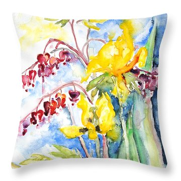 Bleeding Heart With Tulips Throw Pillow by Barbara Pommerenke