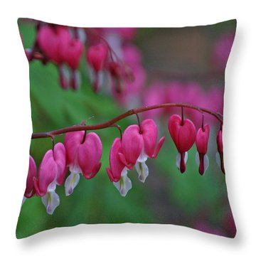Throw Pillow featuring the photograph Bleeding Hearts by Henry Kowalski