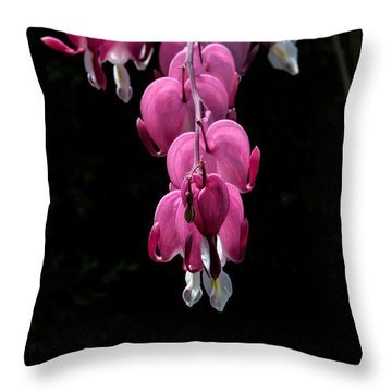 Throw Pillow featuring the photograph Bleeding Hearts by Leif Sohlman