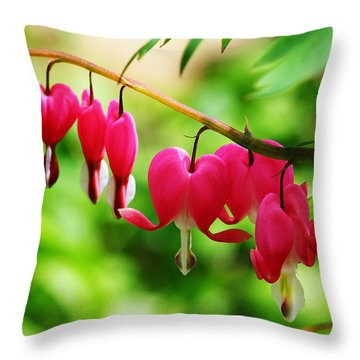 Romantic Bleeding Hearts Throw Pillow by Debbie Oppermann
