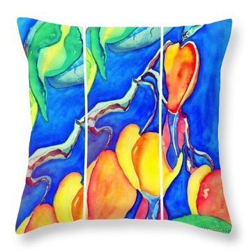Bleeding Hearts Tryptic - Digital Artwork From Original Watercolor Painting Throw Pillow