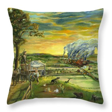 Throw Pillow featuring the painting Bleeding Kansas - A Life And Nation Changing Event by Mary Ellen Anderson