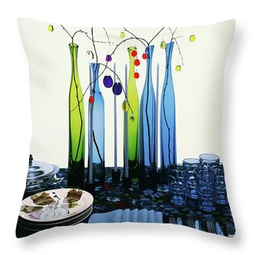 Blenko Glass Bottles Throw Pillow