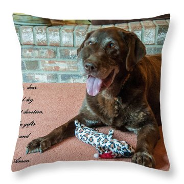 Bless This Dog Throw Pillow by Guy Whiteley