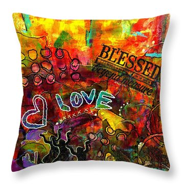 Blessed Beyond Measure Throw Pillow by Angela L Walker