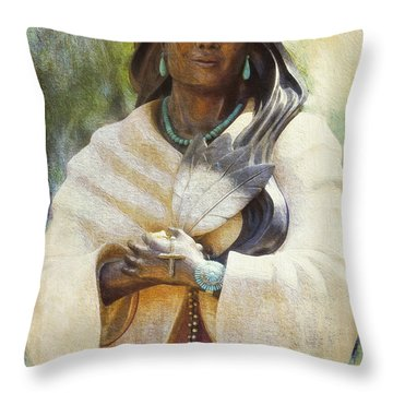 Blessed Kateri Tekakwitha  Throw Pillow