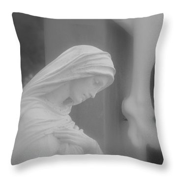 Blessed Mother Throw Pillow by Beth Vincent