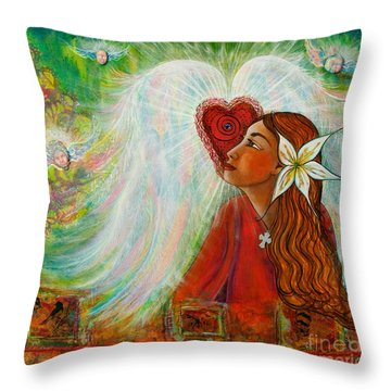 Throw Pillow featuring the painting Blessed Visit  by Deborha Kerr