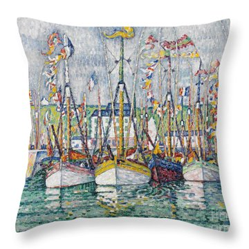 Blessing Of The Tuna Fleet At Groix Throw Pillow by Paul Signac