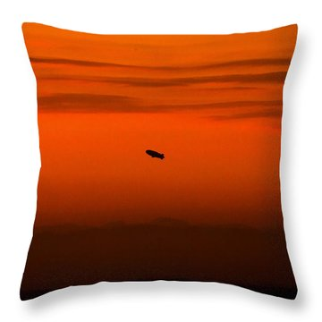 Blimp At Dusk Throw Pillow