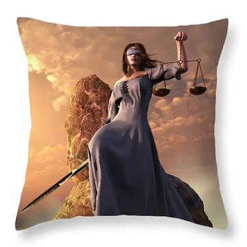 Blind Justice With Scales And Sword Throw Pillow