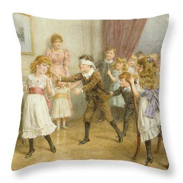 Blind Mans Buff Throw Pillow by George Goodwin Kilburne