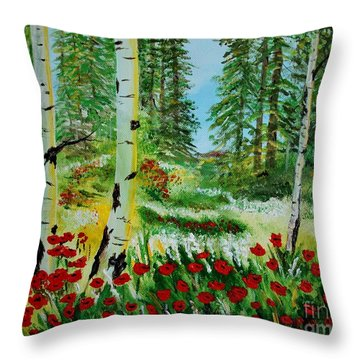Throw Pillow featuring the painting Bliss by Leslie Allen
