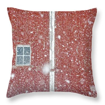Blizzard Barn Throw Pillow by Tim Good