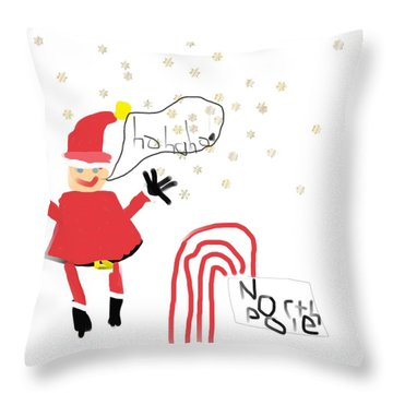 Blizzard In The North Pole Throw Pillow by My seven year old