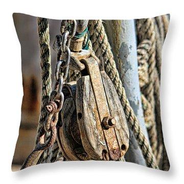 Block And Tackle Throw Pillow by Lynn Jordan