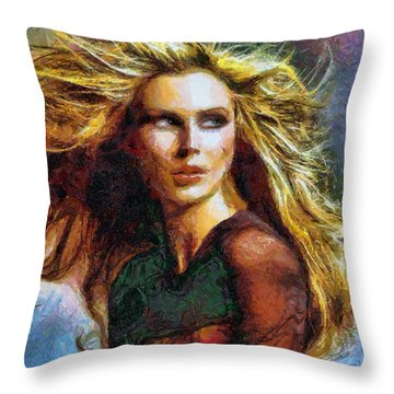 Blonde On A Windy Day Throw Pillow by Tyler Robbins