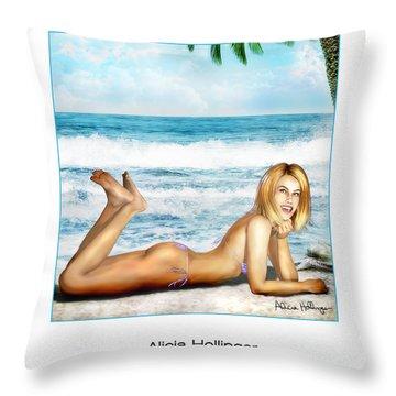 Blonde On Beach Throw Pillow
