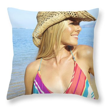 Blonde Woman In Hawaii Throw Pillow by Kicka Witte