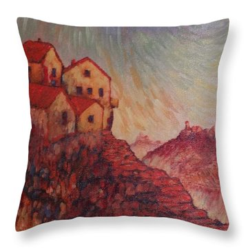 Throw Pillow featuring the painting True Self Verses Ego False Self by Charles Munn