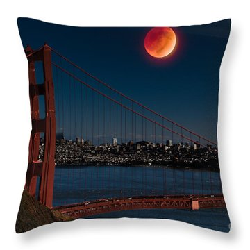 Blood Moon Over Golden Gate Bridge Throw Pillow by Dan Hartford
