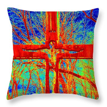 Throw Pillow featuring the photograph Blood On The Cross by Cathy Shiflett