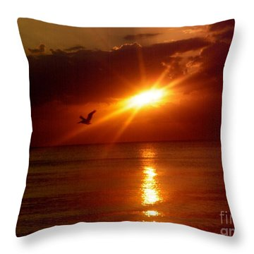 Blood Red Sunset Throw Pillow by Carla Carson