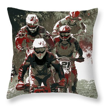 Blood Sweat And Dirt Throw Pillow by Angela Rath