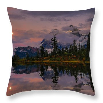 Bloodmoon Rise Over Picture Lake Throw Pillow