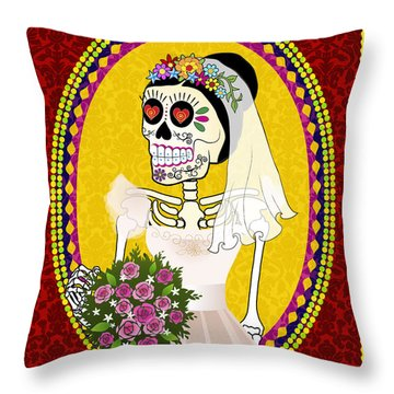 Bloody Married Throw Pillow by Tammy Wetzel