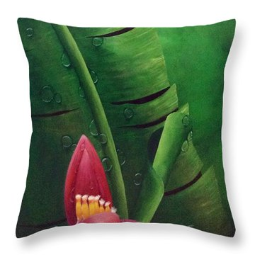 Blooming Banana Throw Pillow