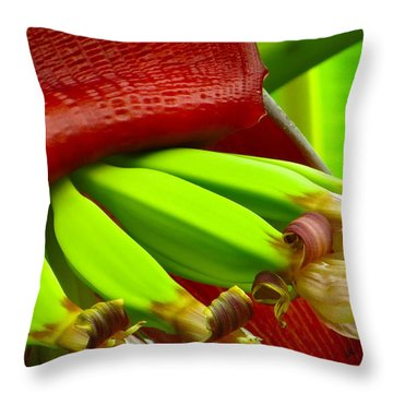 Throw Pillow featuring the photograph Blooming Bananas by Joy Hardee