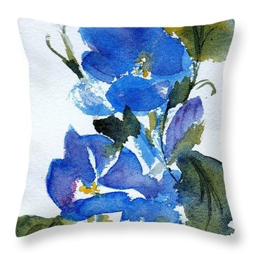 Throw Pillow featuring the painting Blooming Blue by Anne Duke