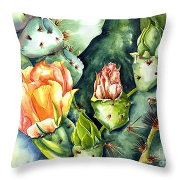 Blooming Cactus II Throw Pillow