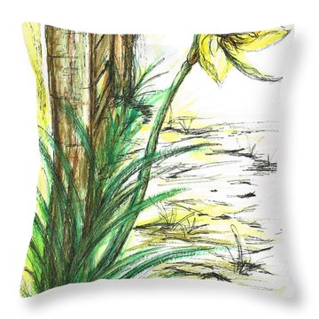 Blooming Daffodil Throw Pillow by Teresa White